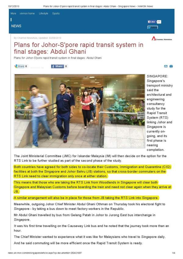 Plans for Johor-S'pore rapid transit system in final stages_ Abdul Ghani - Singapore News - XinMSN News_Page_1