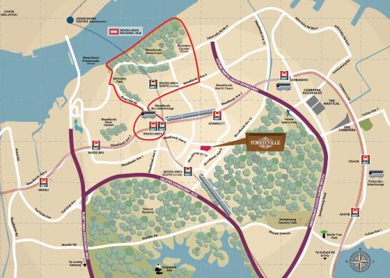 Singapore forestville  Executive condo EC - Woodlands North MRT station and cross-border rail link to johor- URA Master plan 2013