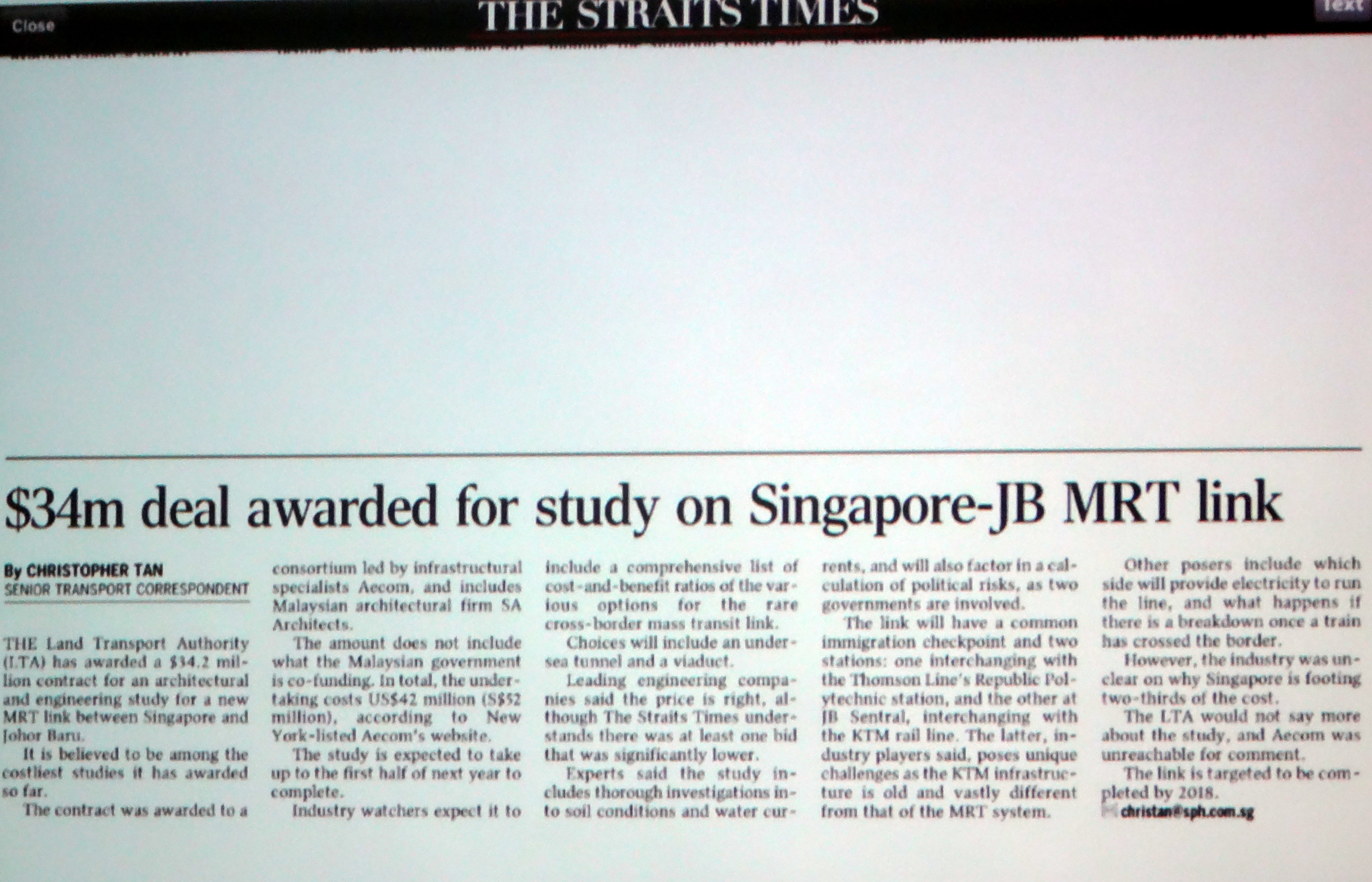 $34M deal awarded for study on Spore – JB MRT Link
