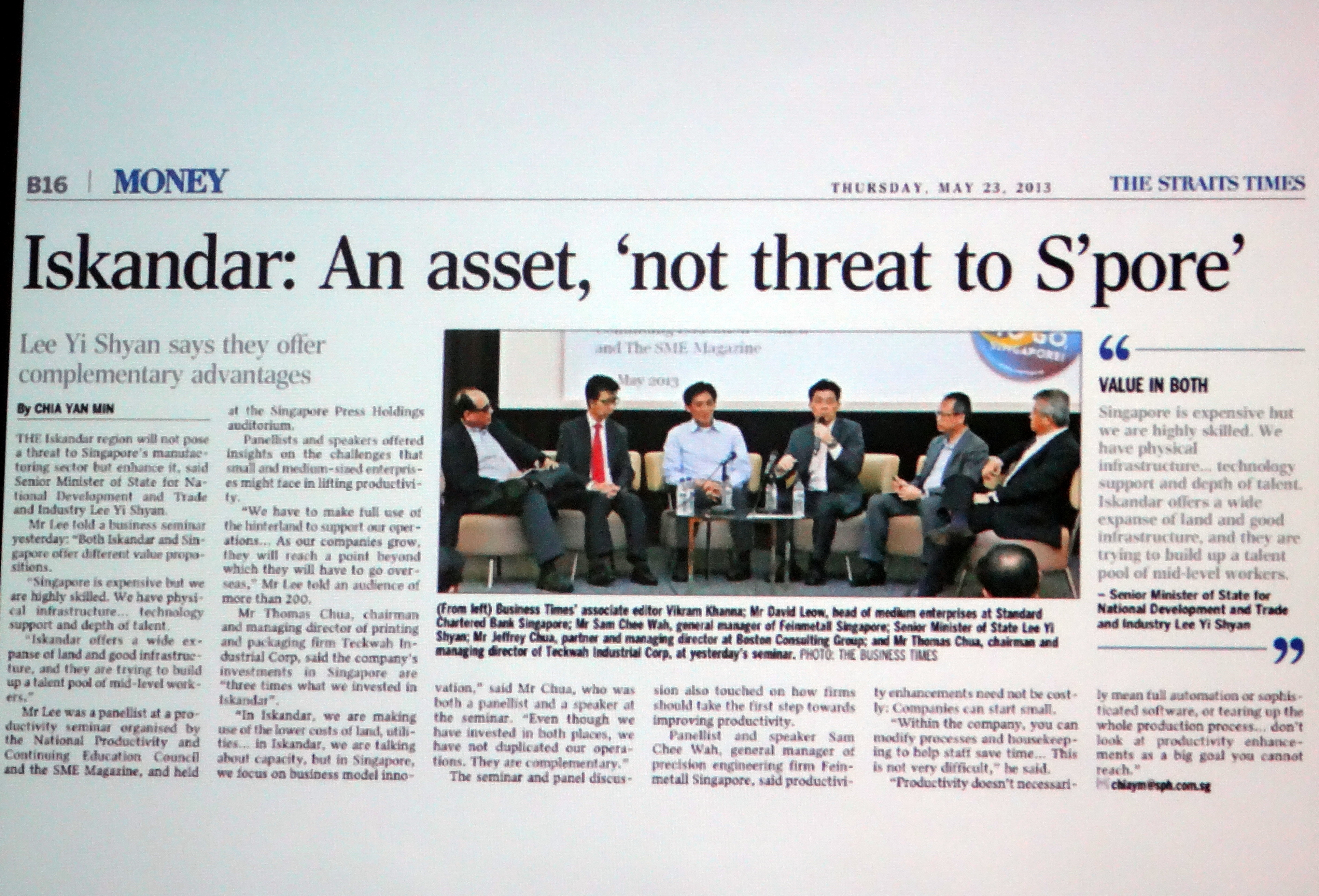 Iskandar An asset not threat to Spore