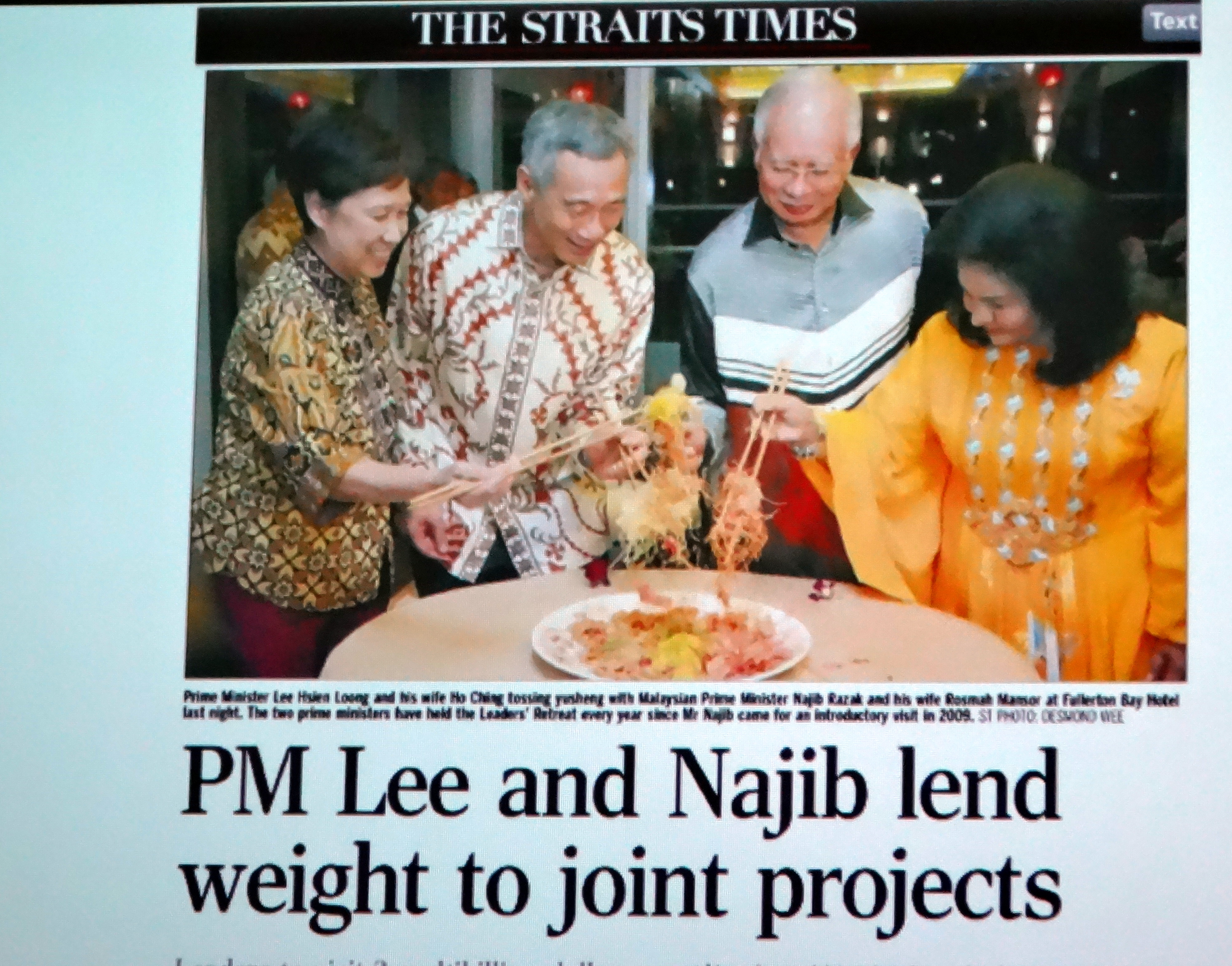 PM Lee and Najib lend weight to joint projects