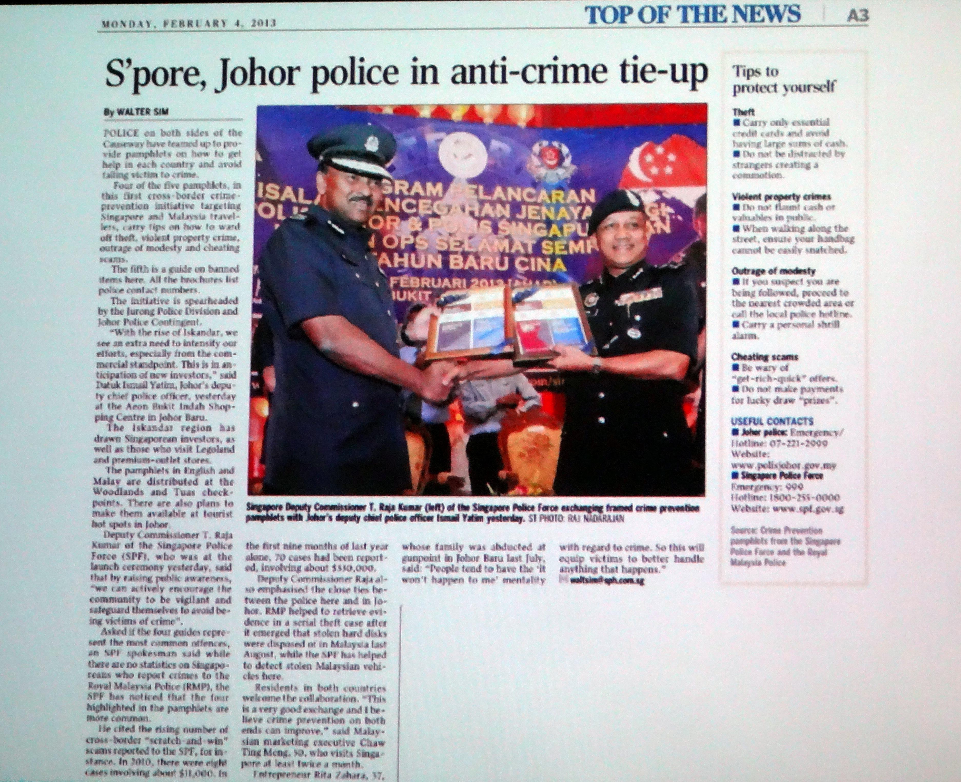 Spore Johor police in anti – crime tie-up