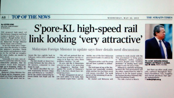 Spore KL high - speed rail link looking very attractive