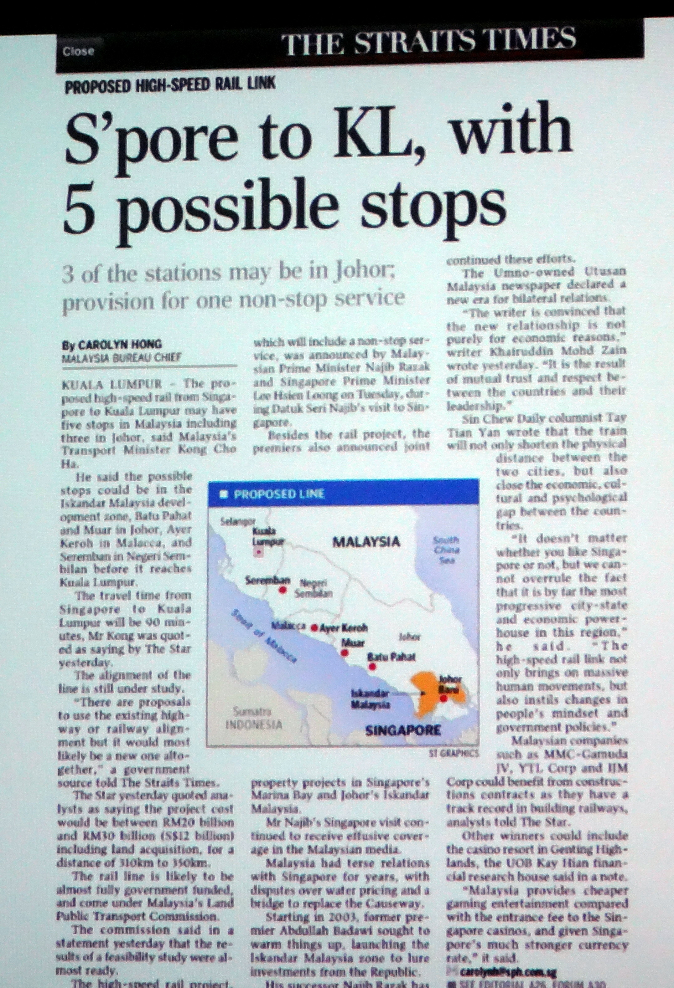 Spore to KL with 5 possiblestops