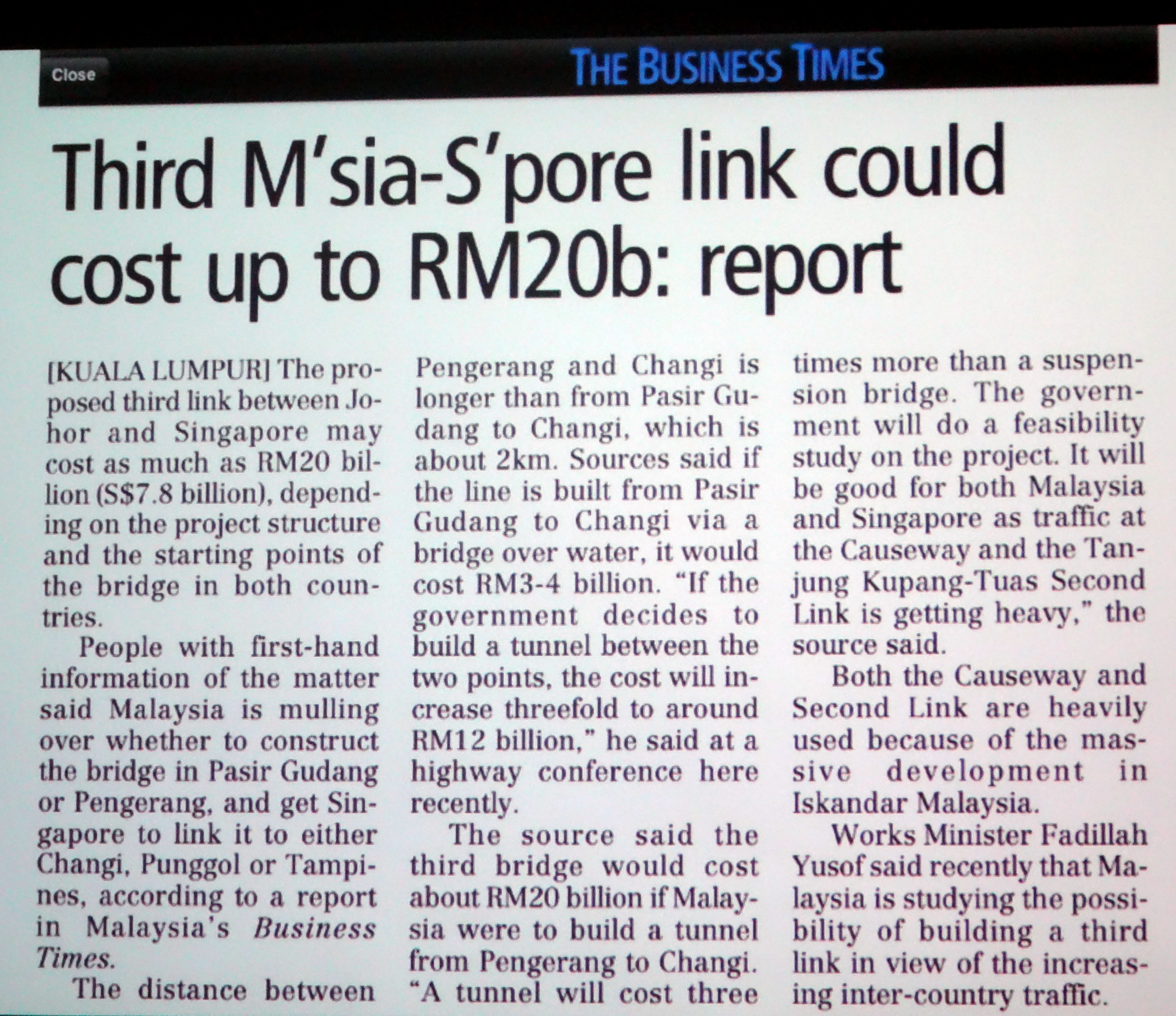 Third Msia – Spore link  could cost up to RM20BReport